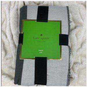 kate spade grey black striped throw blanket nwt